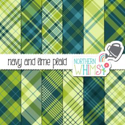 an image of Northern Whimsy's Navy and Lime Seamless Diagonal Plaid digital paper package.