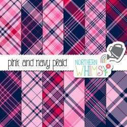 a picture of Northern Whimsy's Pink and Navy Seamless Diagonal Plaid digital paper set.