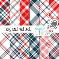 a sales image for our Navy and Red Seamless Diagonal Plaid digital paper pack.