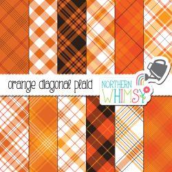 an image of Northern Whimsy's Orange Seamless Diagonal Plaid digital paper set.