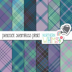 a sales image of our Peacock Seamless Diagonal Plaid digital paper set.