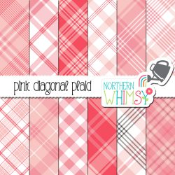 An image of Northern Whimsy's Pink Seamless Diagonal Plaid digital paper set.