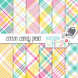 a sales image of our Pastel Plaid Digital Paper - Cotton Candy listing.
