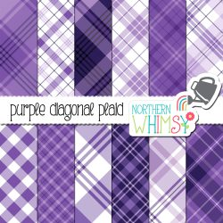 A picture of Northern Whimsy's Purple Seamless Diagonal Plaid digital paper set.