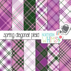 a picture of Northern Whimsy's Spring Seamless Diagonal Plaid digital paper set.