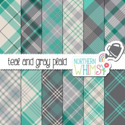 an image of Northern Whimsy's Teal and Gray Seamless Diagonal Plaid digital paper set.