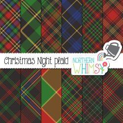an image of Northern Whimsy's Christmas Night seamless diagonal plaid digital paper set.