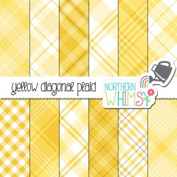 an image of Northern Whimsy's seamless yellow diagonal plaid digital paper set.